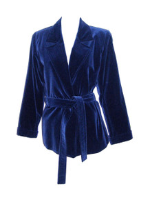 Vintage YSL Saint Laurent Rive Gauche Blue Velvet Safari Turnback Cuff Belted Jacket