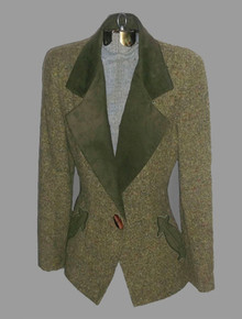 Vintage Oscar De La Renta Studio Green Multicolor Tweed Wool Blend Ultra Suede Applique Embroidered Jacket