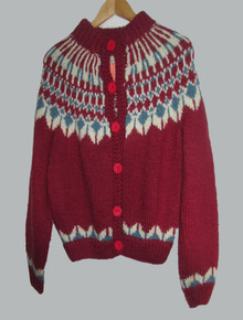 Vintage Fron Enterprises LTD 100% Virgin Wool Handknit Multicolor Fairisle Icelandic Buttoned Sweater Cardigan