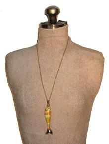 Vintage Monet Goldtone Multicolor Large Fish Pendant Gold Chain Necklace