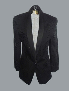Vintage Mondi Black Sequins Embellished Buttoned Closure Fitted Tuxedo Blazer Jacket