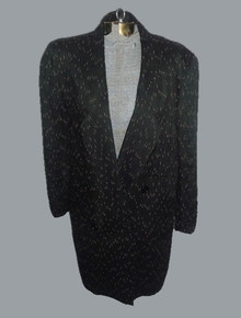 Vintage Spitalnick & CO Black Pink Slub Fitted Long Tuxedo Blazer Jacket Dress