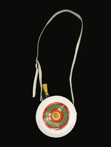 Viva California USA Vintage Multicolor Circular Pouch Colorblock Leather Crossbody Handbag