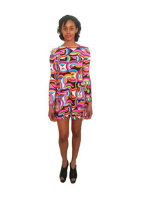 Sale POYZA Vibrant Multicolor Psychedelic Kaleidoscope Print High Quality Lycra Short Mini Dress