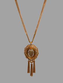 Vintage Monet Goldtone Large Pendant Engraved Beaded Strands Fringe Chain Necklace