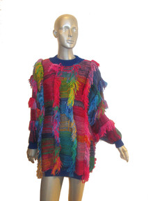 Vintage 20ANS By Maria Kim Multicolor Fringe Slouchy Long Tunic Short Mini Sweater Dress