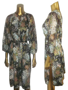 Vintage Hippie Boho Multicolor Floral Print Smock Long Tunic Tent Dress