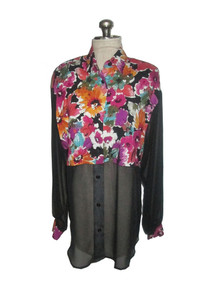 Vintage Multicolor Floral Print See Thru Black Colorblock Buttoned Blouse