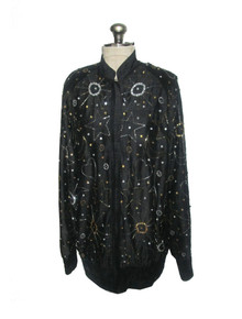 Vintage The Icing Black Gold Silver Sequins Beads Sun Star Moon Hearts Silk Zip Front Jacket