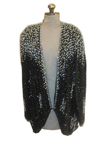Vintage Judith Ann Pure Silk Silver White Pearl Beads Sequins Embellish Slouchy Trophy Jacket Dress w/ Belt