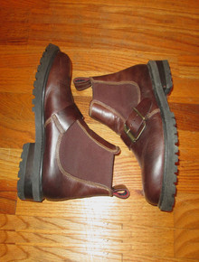 Vintage Wild Pair Brown Buckled Above Ankle Combat Leather Boots
