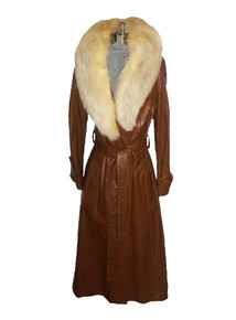 Vintage Fur Shawl Collar Belted Brown Leather Lined Trench Coat Jacket