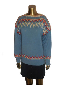 Vintage Light Blue Bone Red Zig Zag Pattern Boatneck Pullover Sweater