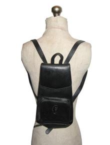 Vintage Fenneli Black Silver  Flap Closure Zippered Compartment Adjustable Buckle Strap Leather Back Pack Handbag