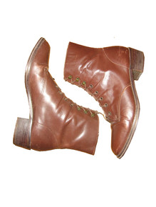 Vintage Bass Leather Upper Brown Semi Distressed Laced Up Above Ankle Granny Grunge Riding Boots