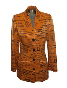 Vintage Jean Airoldi Pret-A-Porter Avant Garde Pop Art All Over Word Name Number Fitted Lined Blazer Tuxedo Jacket