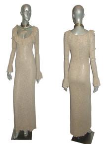 Vintage Knitivo Oatmeal Heather Ruffled Jersey Pointelle Long Sweater Knit Dress