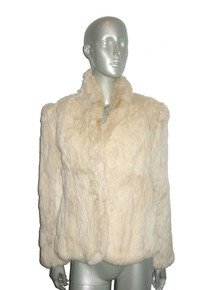 Vintage Beige Rabbit Hair Fur Buttoned Short Lined Jacket w/ Pockets