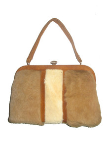 Vintage Kangaroo Hide By Lispeer Colorblock Gold Metal Suede Mod Handbag