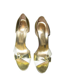 Vintage Fiammante By Colormate Metallic Gold White Colorblock High Heel Leather Pump Shoes
