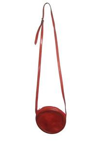Vintage Authentic Furla Burnt Orange Circular Pouch Crossbody Leather Handbag