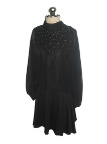 Vintage Acclaim By Seymour Levy Black Rhinestone Embellished Chiffon Overlay Dolman Sleeve Tie Neck Short Dress