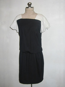 Vintage David Warren New York Black & White Pleated Sleeve Square Neck Buttoned Back Color Block Short Blouson Dress
