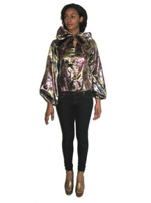 POYZA Multicolor Floral Print Metallic Lame Ascot Tie Neck Long Poet Sleeve Tunic Blouse