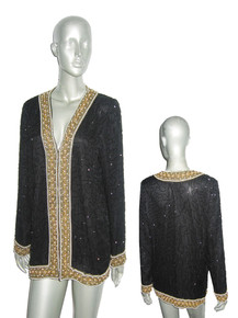 Vintage Laurence Kazar New York Black Gold Pearl Beads Embellished Slouchy Trophy Plunging Neck Jacket Micro Mini Dress