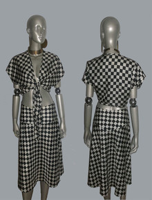Vintage 2pc Black & White Checker Harlequin Pattern Tie Waist Blouse Coverup Top & Matching High Waist Skirt Outfit Ensemble
