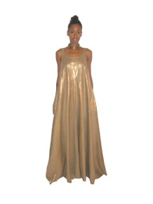 POYZA Metallic Gold Linen Cotton Sleeveless Long Flared Pocket Multifunctional Bridesmaid Jumper Dress Size Small-Extra Large Made To Order