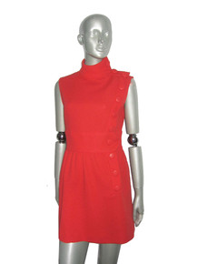 Vintage Red Big Off Center Buttoned Detail Sleeveless Short Mini Mod Dress