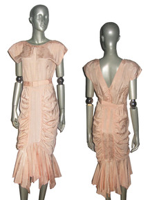 Vintage Sterling Silver Peach Floral Jacquard Shirred Gathered Fitted Handkerchief Hem Wiggle Dress w/ Belt