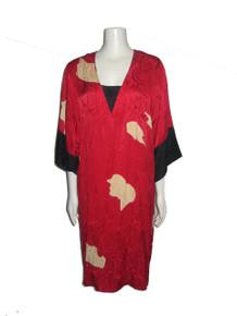 Vintage Flora Kung Red Black Beige Printed Jacquard Kimono Silk Dress