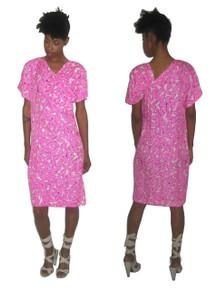 Vintage Designer Troa Cho Pink Black White Floral Printed 100% Silk Unusual Asymmetrical Shirred Big Bow Buttoned Dress