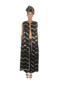 Vintage Brown Velvet Multicolor Wavy Striped Sequins Embellish Rope Chain Tassel Tie Sleeveless Long Jacket Dress