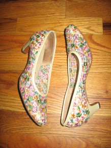 Vintage Serenades By Florsheim Multicolor Floral Leaf Embroidery See Through Mesh High Heel Shoes