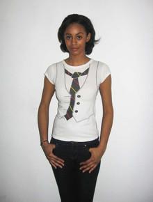 Vintage Tie Vest Printed White T-Shirt