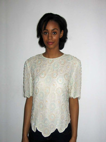 Vintage Scala Off White Pastel Multicolor Flower Design Sequins Beads Embellished Scallop Edge Blouse