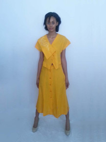 Vintage 2pc Outfit Ensemble Marigold Yellow Jacket w/ Matching Long Slit Detail Skirt