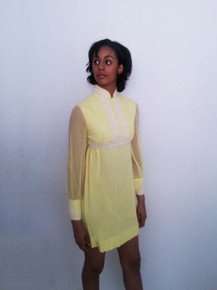 Vintage Yellow Off  White Embroidered Trim Short Mini Mod Dress