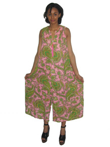 Vintage Pink Multicolor Paisley Print Sleeveless Wide Leg Palazzo Mod Jumpsuit