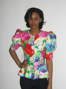 Vintage Pantagis Multicolor Abstract Print Avant Garde Peplum Puff Sleeve Jacket