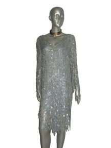 Vintage Light Blue Sequins Beads Leaf Design Embellished V-Neck Silk Flapper Dress