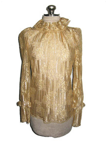 Vintage Caroline Charles London Gold Metallic Lurex See Thru Sheer Mesh Lace Ruffled Blouse
