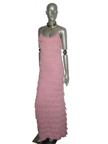 Vintage Rare Pink Strappy Flapper Disco Long Multiple Layers Fringe Dress
