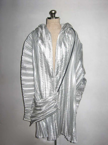 Vintage Rare Metallic Silver Origami Avant Garde Pleated Asymetrical Sculptural Multifunctional Jacket Coat Cover-Up Dress w/ Drawstring Bag