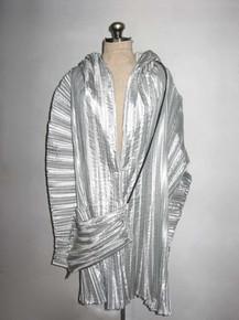 Vintage Rare Metallic Silver Origami Avant Garde Pleated Asymetrical Sculptural Multifunctional Jacket Coat Cover-Up Dress w/ Drawstring Bag