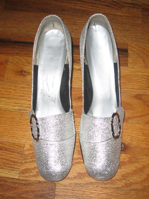 Vintage Metalllic Silver Glitter Buckle Mod High Chunky Heel  Mary Jane Shoes