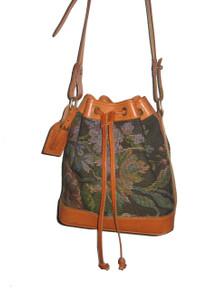 Vintage Polo Ralph Lauren Brown Multicolor Tapestry  Drawstring Shoulder Strap Boho Crossbody Leather Bucket Handbag